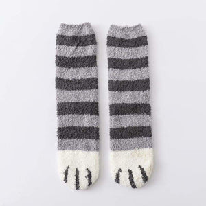 Winter Warm Cat Paw Socks - Home - Gray stripes - cat-paw-socks