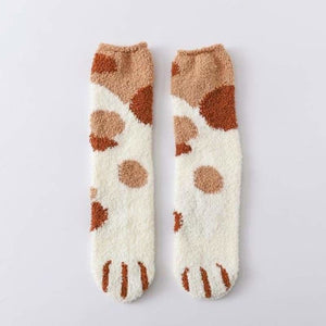 Winter Warm Cat Paw Socks - Home - khaki dots - cat-paw-socks