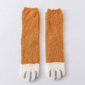 Winter Warm Cat Paw Socks - Home - yellow - cat-paw-socks
