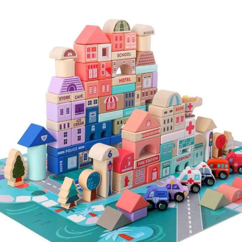 Wooden City Blocks Toy - JH-101 - Wooden Blocks