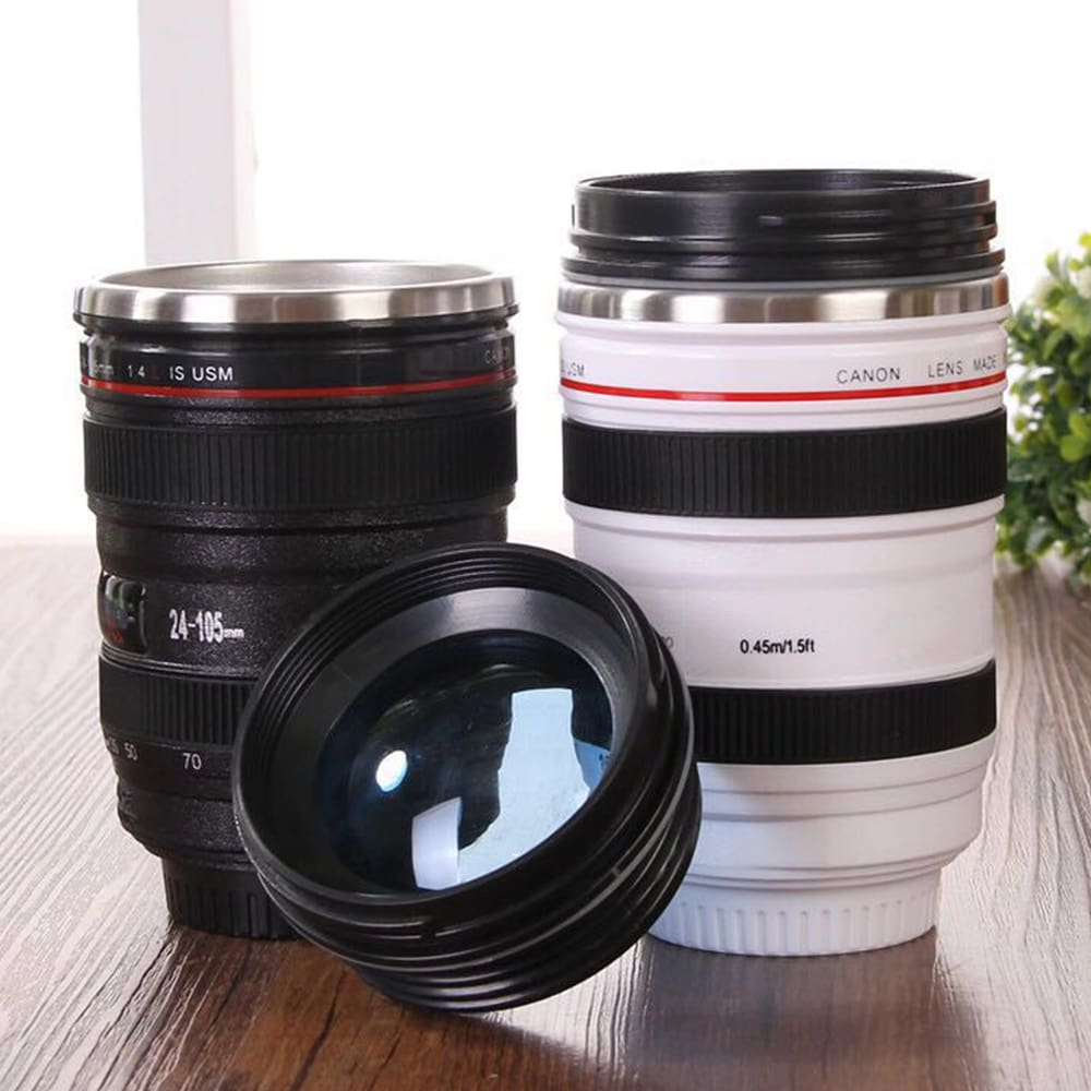 400ml Stainless Steel Camera Lens Mug With Lid