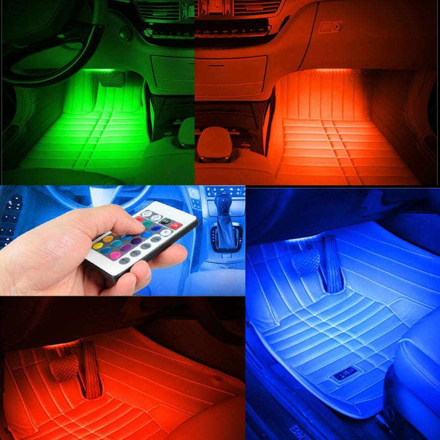 4-Piece Multicolored LED Interior Under-dash Lighting