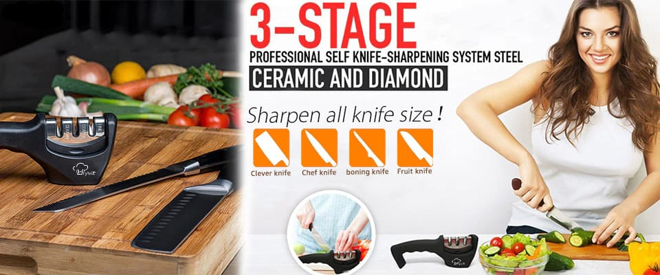 Pro Knife Sharpener 3 Stage Tungsten Diamond & Ceramic