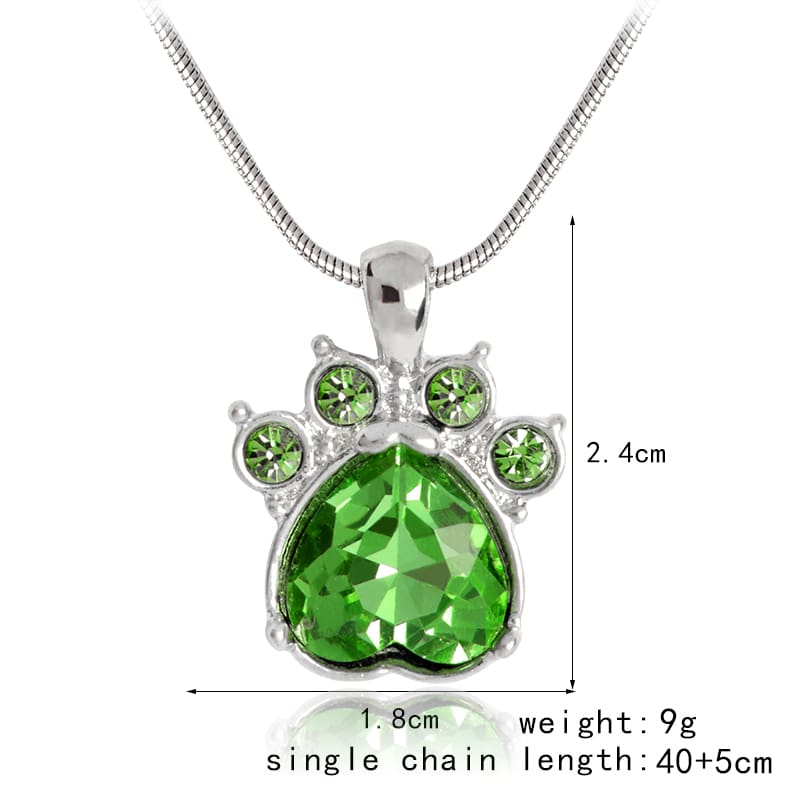 Crystal Paw Birthstone Necklace