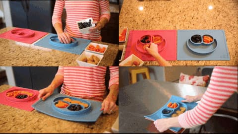 Silicone Non-Slip Placemat With Plate/Bowl For Babies