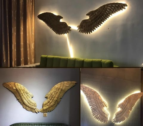 Hanging Iron Angel Wing Wall Decoration
