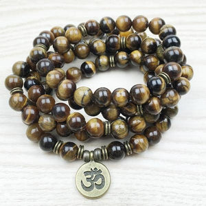 """Namaste"" - Natural Healing Tiger Eye Mala"