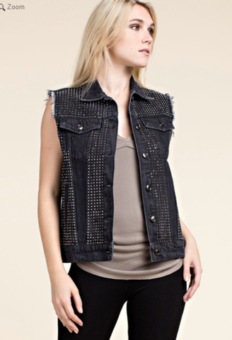Jean Vest with Stone