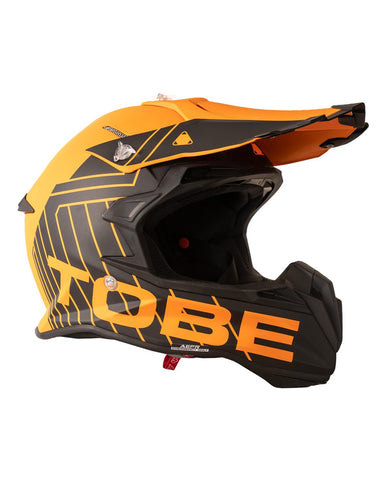 The TOBE Airoh Lightweight Terminator Snowmobile Helmet in black and orange.