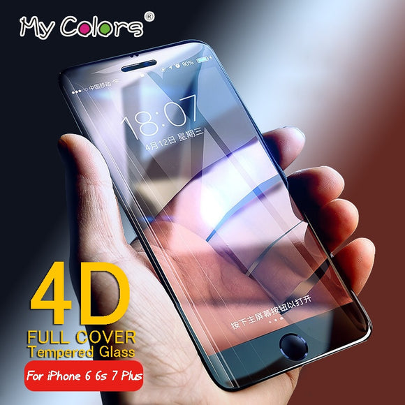 Meine Farben 4D Full Cover gehärtetes Glas für iPhone 6 Glas 6s 7 Plus Screen Protector iPhone 7 Glas Film Curved Kantenschutz