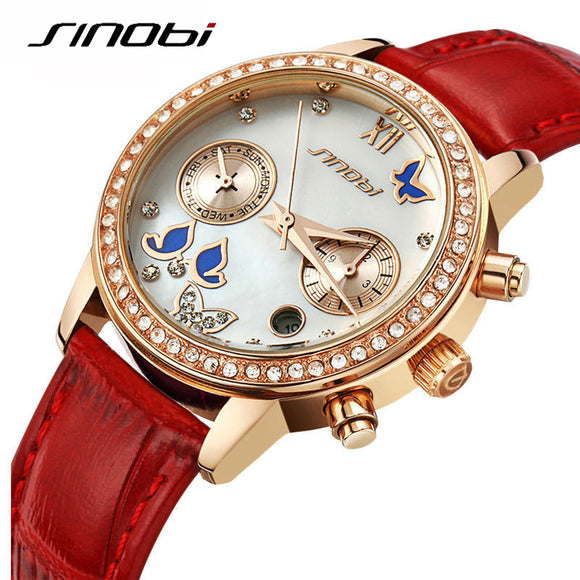SINOBI Neue Mode Schmetterling Frauen Uhren Lederband Rose Gold Damen Armbanduhr Diamant Luxus Analoge Quarzuhr