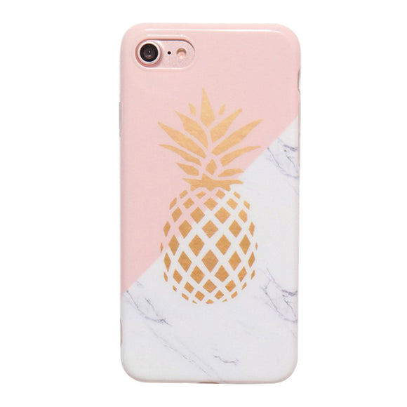 Telefon Cover Slim TPU Fall Ananas und Marmor Muster Farbabstimmung IMD Soft Protector Shell für iPhone 8/7