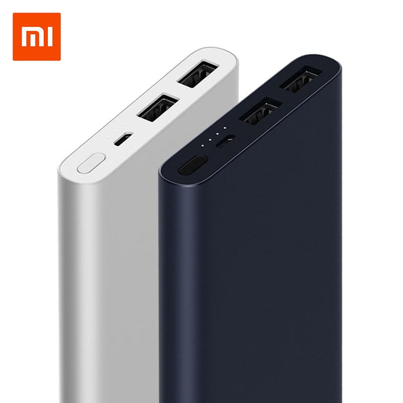 Original 10000 mAh Xiaomi Power Bank 2 Schnellladung Powerbank Dual-USB Portable Aluminium Schnellladung Mi Power Externe Batterie