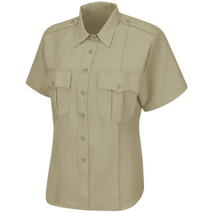 Horace Small Sentry Womens Silver Tan Short Sleeve Shirt With Zipper