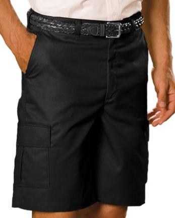 Edwards Garment Mens Flat Front Black Utility Cargo Chino Shorts