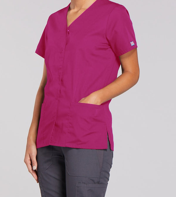 Cherokee Women's Snap Front V-Neck Top 4770