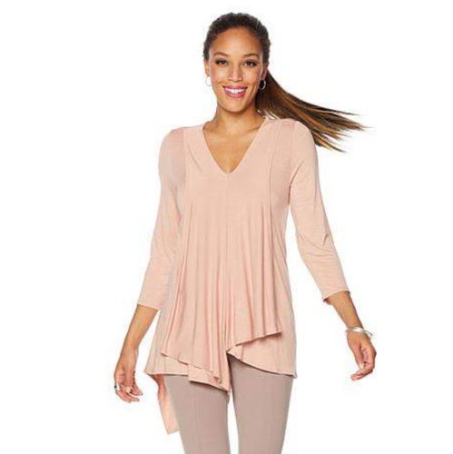Nene Leakes Rose Quartz Draped 3/4 Sleeve Top