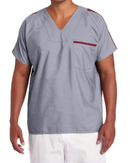 Landau Men's Contrast Color Scrub Top 7565