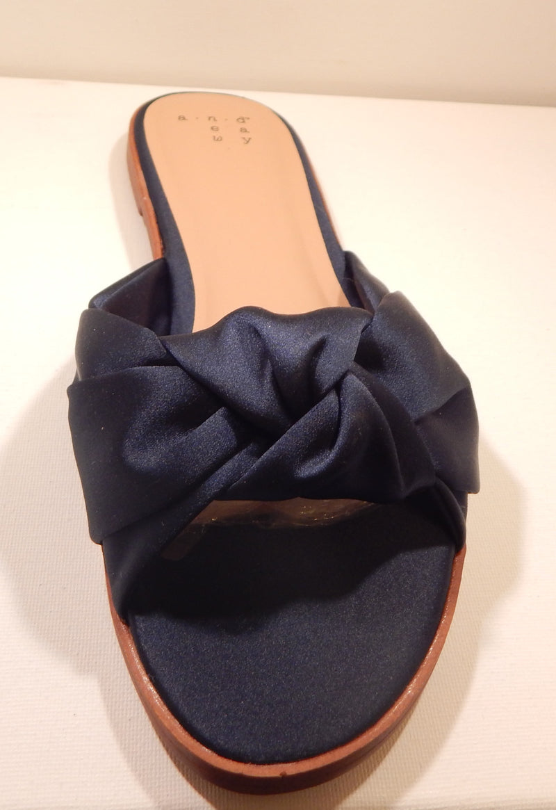 A New Day Women's Navy Stacia Knotted Satin Slide Sandals