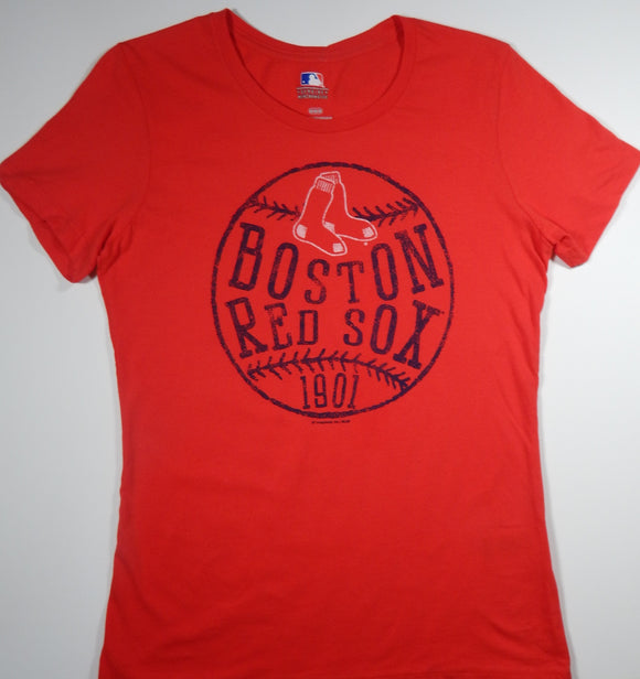 Boston Red Sox Women's T-Shirt Red Crew Neck- J
