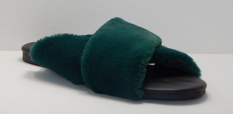 A New Day Women's Green Frannie Crossband Faux Fur Slide Sandals