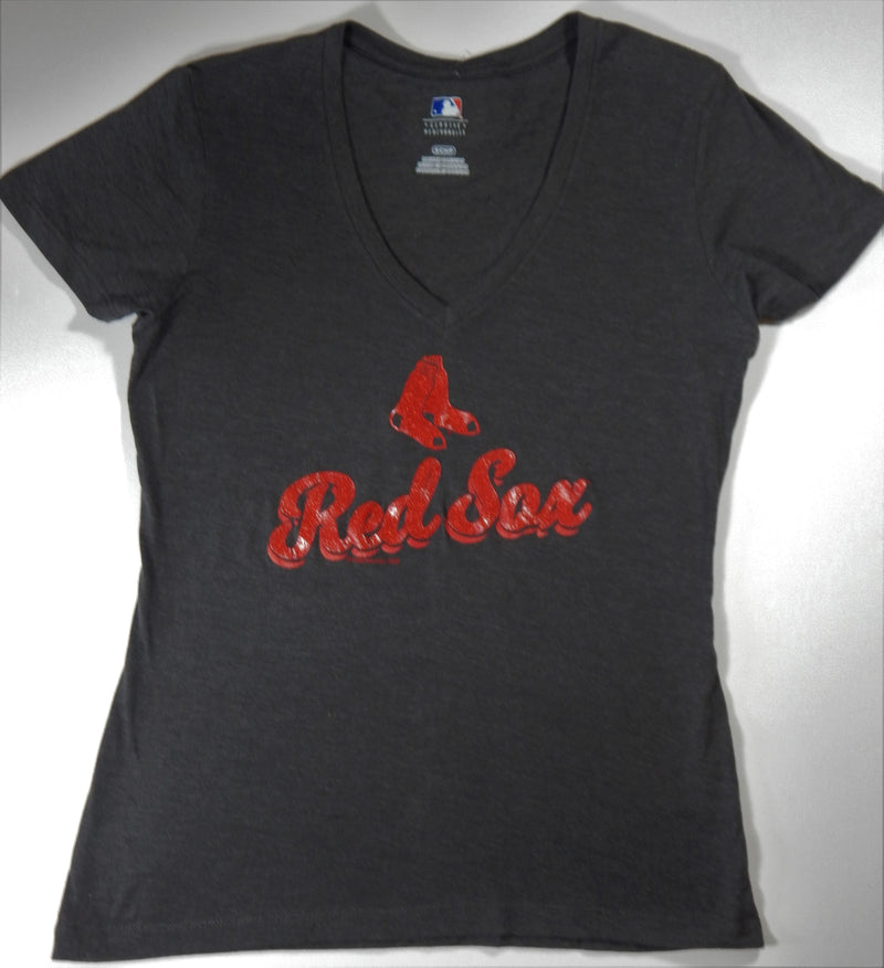 Boston Red Sox Women's V-Neck Gray T-Shirt