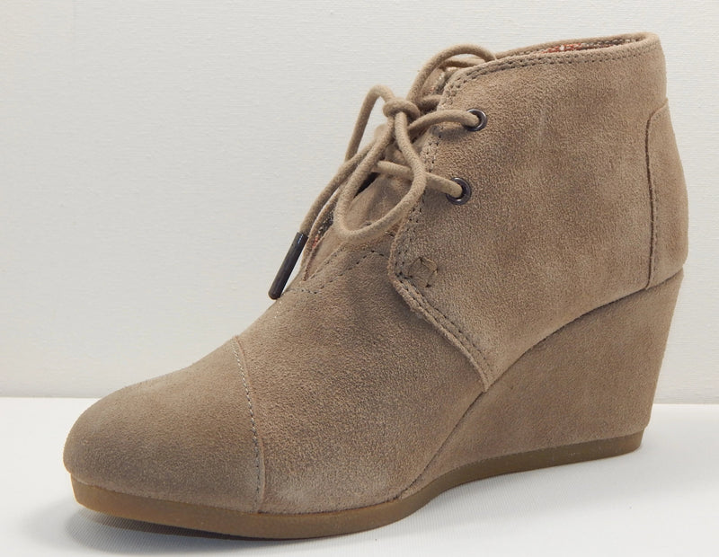 TOMS Taupe Desert Wedge Bootie