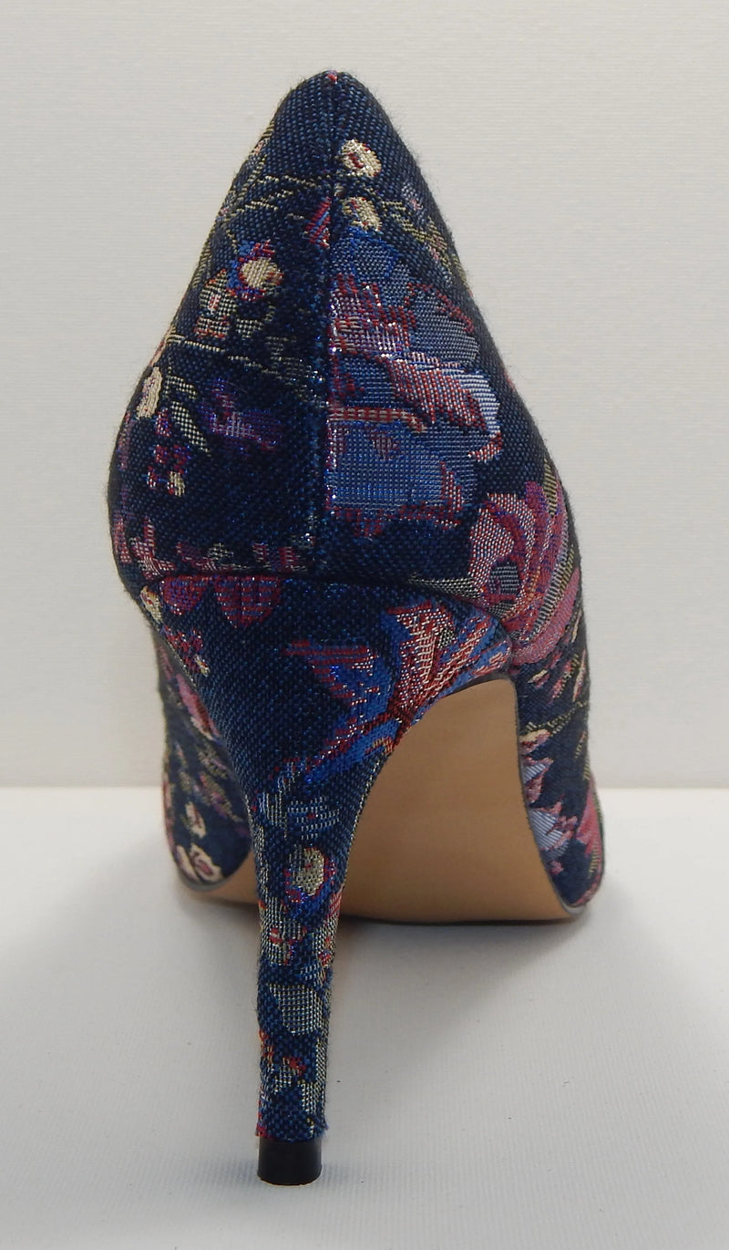 Wendy Williams Denim Floral High Heel Pumps