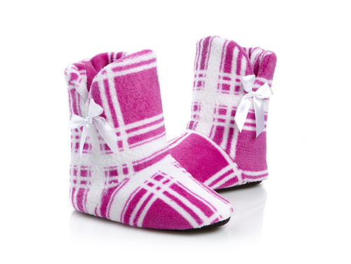 NEW Jeffrey Banks Orchid Plaid Plush Booties