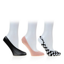 Steve Madden 3 Pack Black Footie Fish Net & Mesh Socks