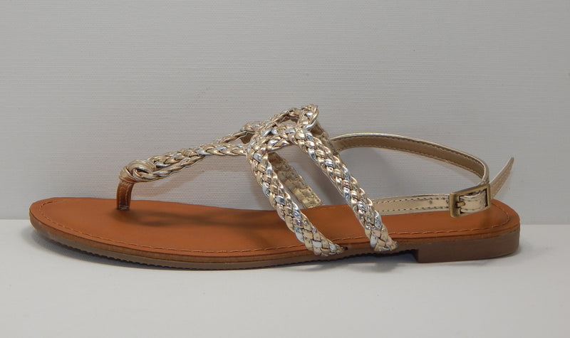 Universal Thread Women's Multi-Gold Braided Jana Sandal