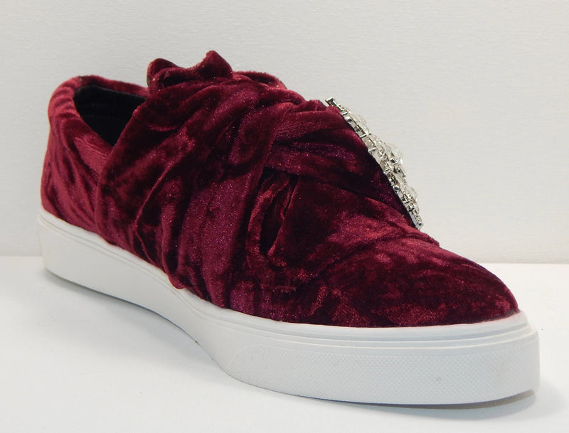 Wendy Williams Crushed Velvet Sneakers in Berry