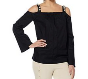 Wendy Williams Poplin Off The Shoulder Black Top