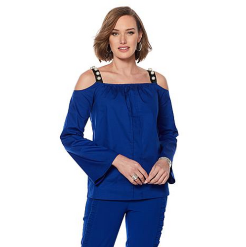 Wendy Williams Poplin Off The Shoulder Cobalt Top