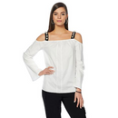 Wendy Williams Poplin Cold Shoulder Top in White