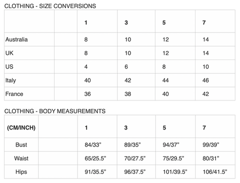 ZUBER Size Guide / Clothing Size Conversions