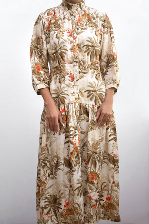 Renaissance Jungle Shirt Dress with Hand Pressed Shell Buttons