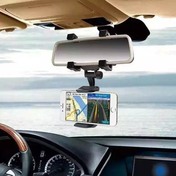 360 Degree Rearview Mirror Car Cell Phone Holder