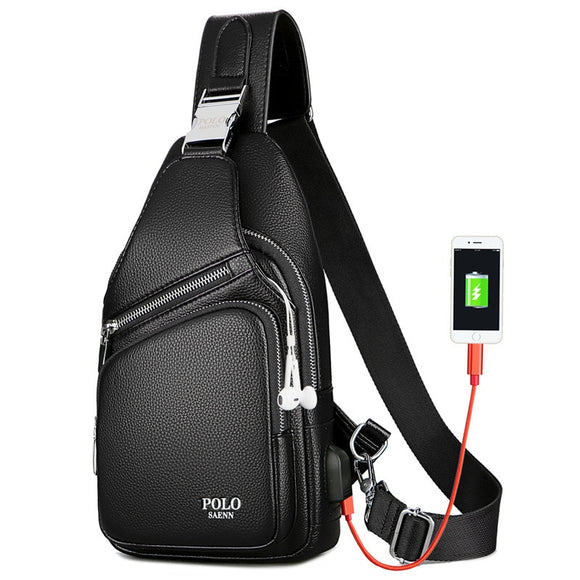 Men Chest Bag Leather Waterproof With USB Charging Earphone