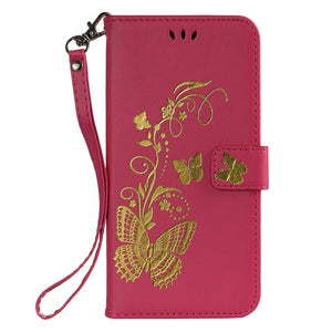Gilding Butterfly Leather Phone Case Samsung Galaxy S9