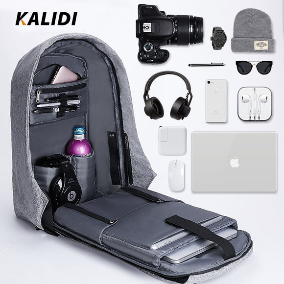 KALIDI 15 inch Waterproof Anti-theft USB Charging Laptop Backpack