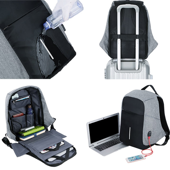 Men Anti theft Backpack USB Charging 15.6 Laptop