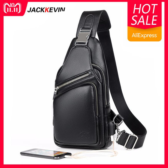 2018 Jackkevin Fashion Mens Shoulder Bag Burglarproof Black Leather Mens Chest Bag USB Charging Crossbody Bags Travel Bag