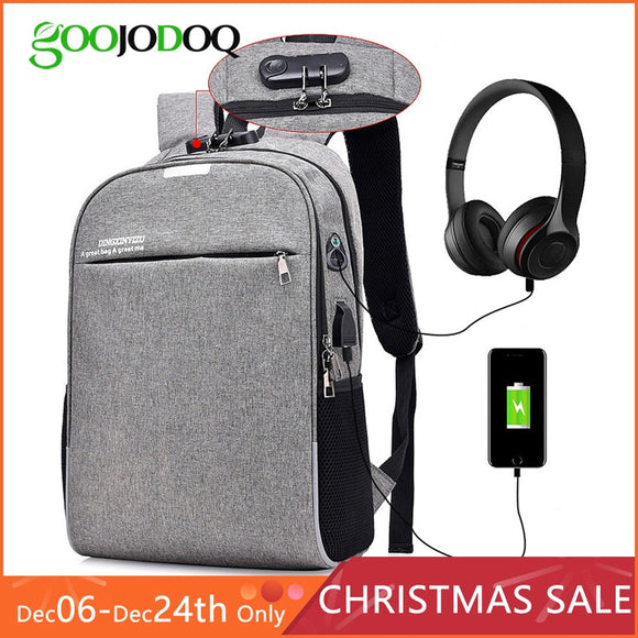 Men's Anti-theft 15.6 inch  Waterproof laptop Backpack with USB Charging