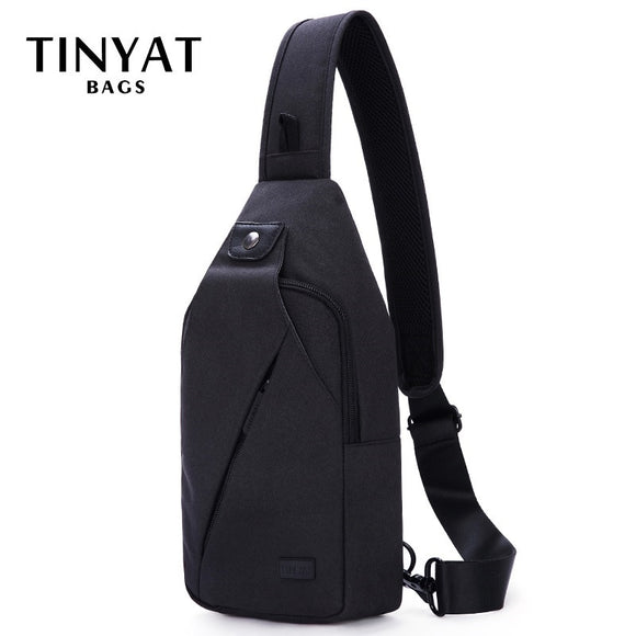 Black Sling Men Chest Bag with dual earphone jack