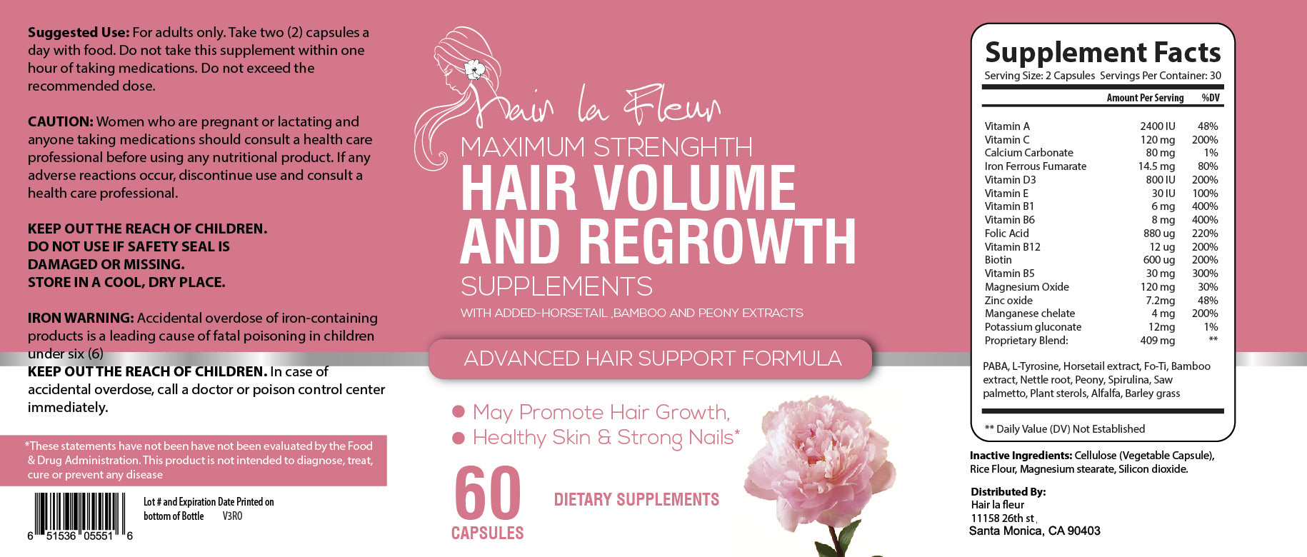 Hair La Fluer Maximum, Hair Growth, Island formulation with Horsetail, Bamboo and Peony extract