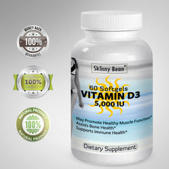 Skinny Bean Vitamin D3 5000 iu SOFTGELS Maximum Purity & Strength Easy Absorption