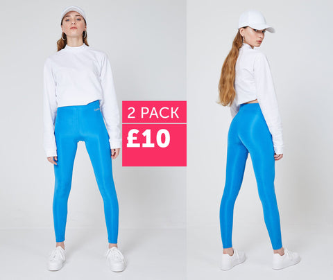 fasheon 2 Pack - Blue Shiny High Waisted Slogan Leggings - £10 | world of leggings