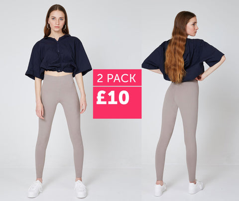 fasheon 2 Pack - Brown Basic High Waisted Slogan Leggings - £10 | world of leggings