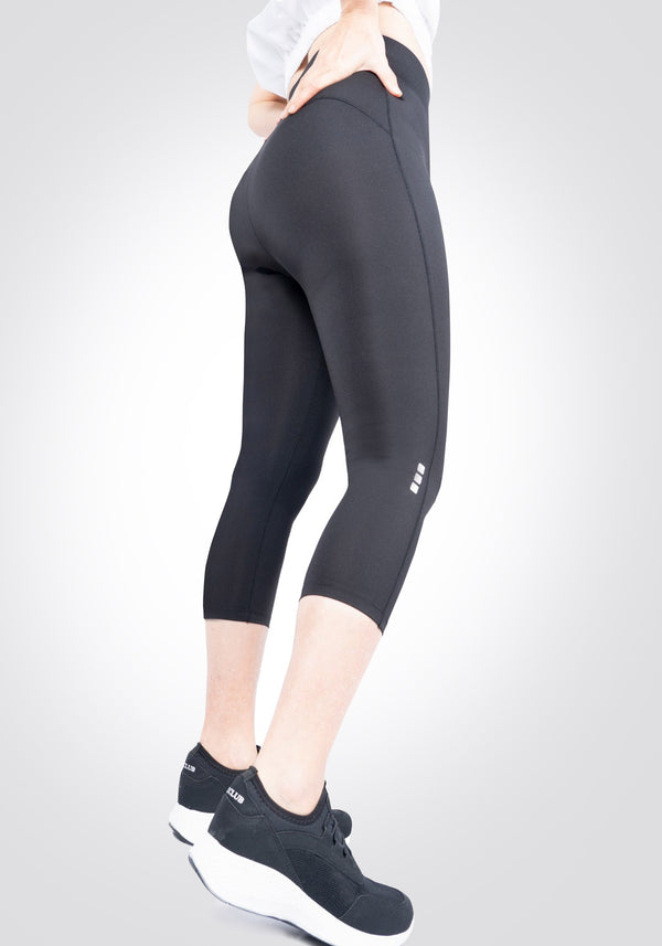 fasheon Black Slogan Cropped Gym Leggings